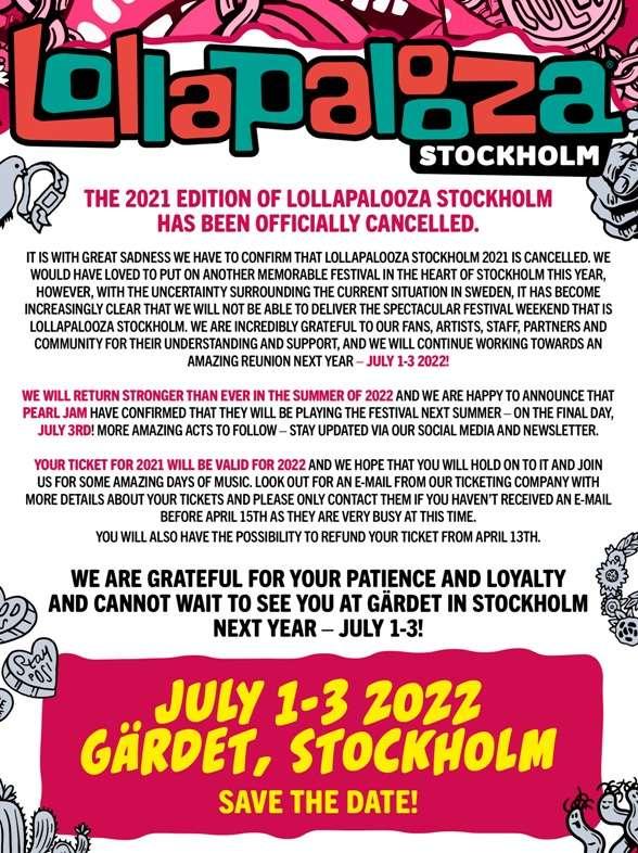 LOLLAPALOOZA Stockholm 2020